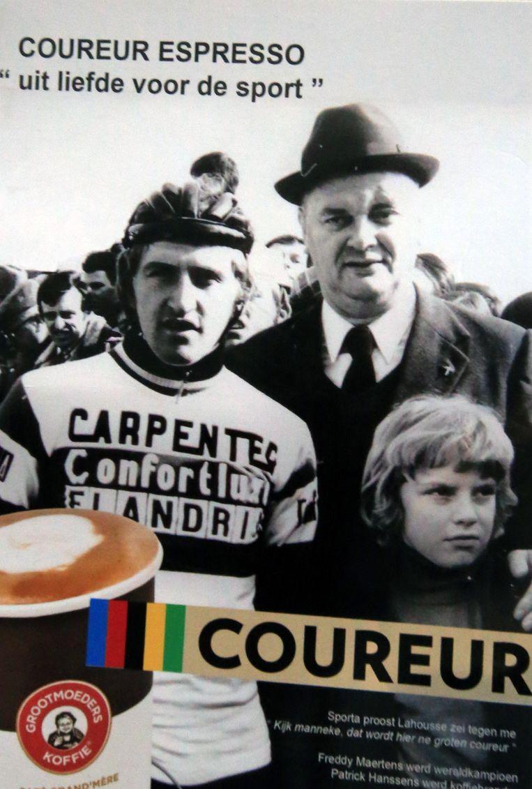 Koffiebrouwer Patrick Hanssens uit Gullegem gebruikt de originele foto om reclame te maken voor zijn eigen creatie: de koffie coureur.