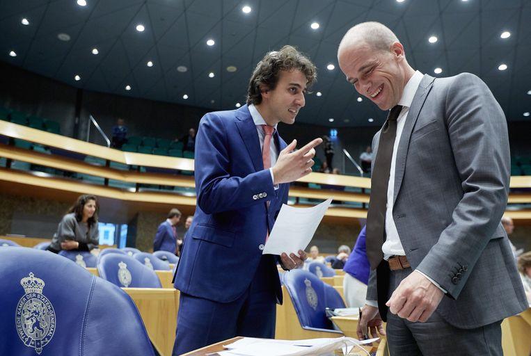 Diederik Samsom (PvdA)(R) en Jesse Klaver (GroenLinks). Beeld anp
