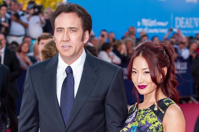 Nicolas Cage met zijn vorige vrouw Alice Kim, in 2013.