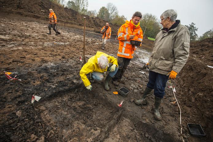 Roos de Leeuwe met twee vrijwilligers.