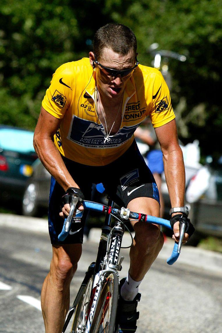 Lance Armstrong in de Tour de France van 2002.