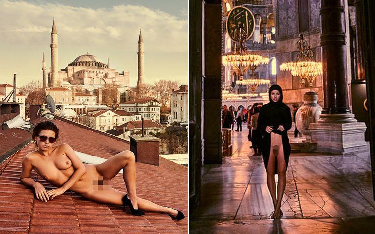 Marisa Papen provoceert aan de voormalige moskee Aya Sofia in Istanbul.