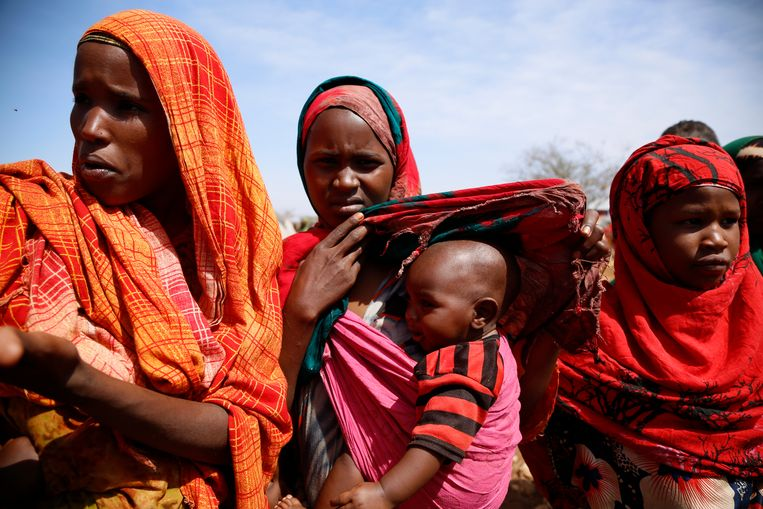 Een kamp in het Somalië, waar de hongersnood vanwege droogte hoog is. Beeld AP