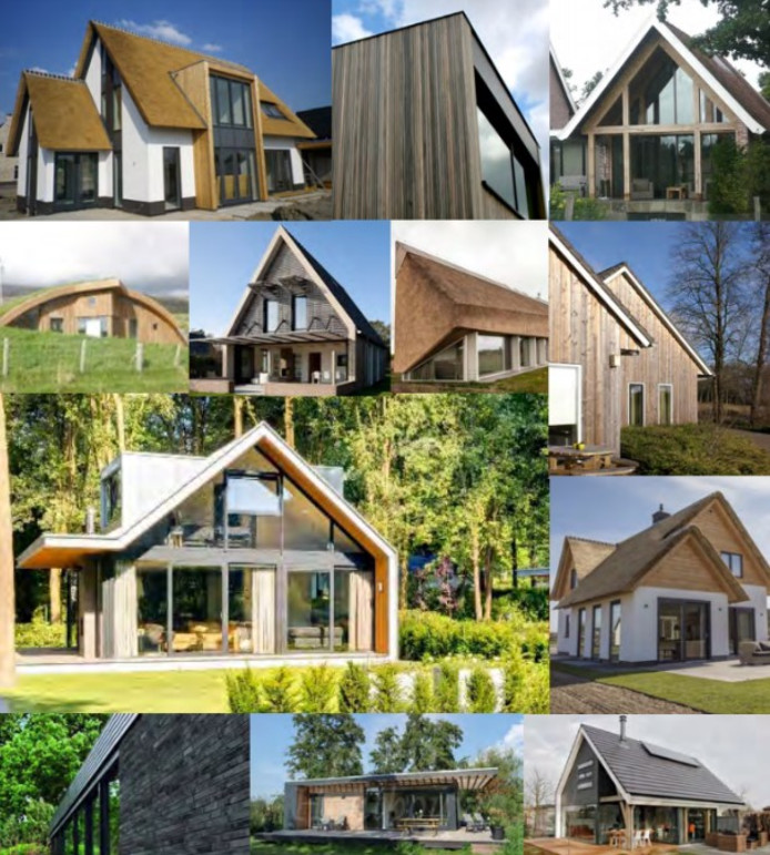 Voorbeelden van vakantiewoningen zoals die in De Binnentuin Rucphen zouden kunnen komen rondom de vijver.
