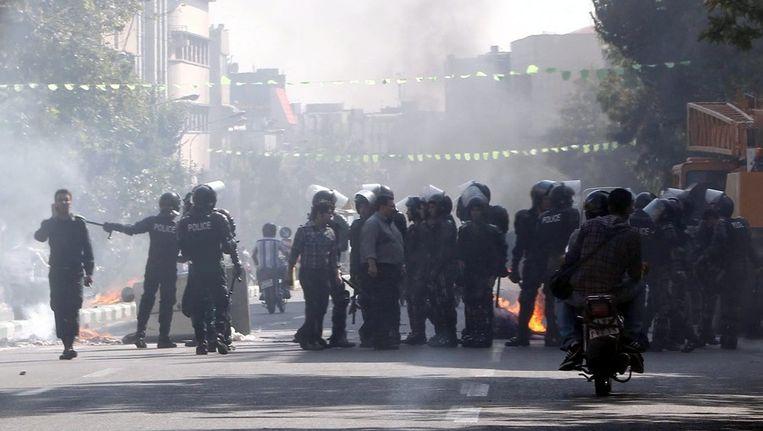 Protesten in Teheran op 3 oktober, Beeld EPA