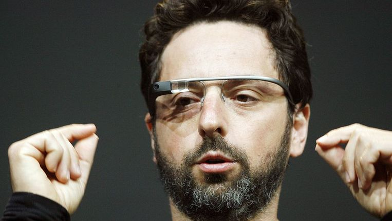 Sergey Brin, medeoprichter van Google, introduceert Google Glass Explorer. Beeld AFP
