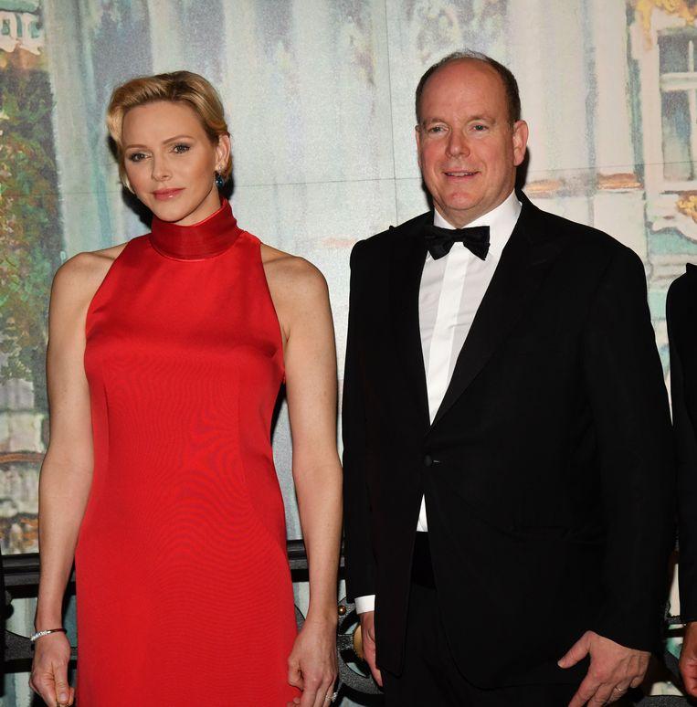 Le prince Albert II en prinses Charlene op het gala van de formule 1 dit jaar.
