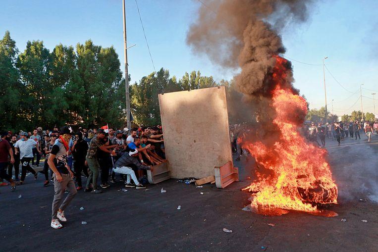 Demonstranten blokkeren de straten.