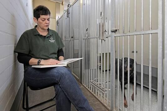 Sandra van Rooij leest voor aan rottweiler Kyra.