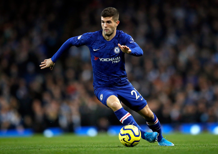Christian Pulisic namens Chelsea in actie tegen Manchester City.