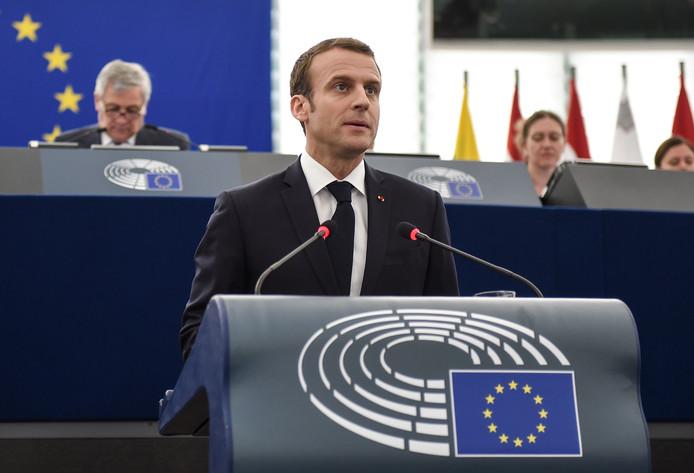 Emmanuel Macron vanochtend in Straatsburg.