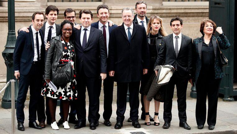 Het team van de Franse president Macron. Beeld EPA