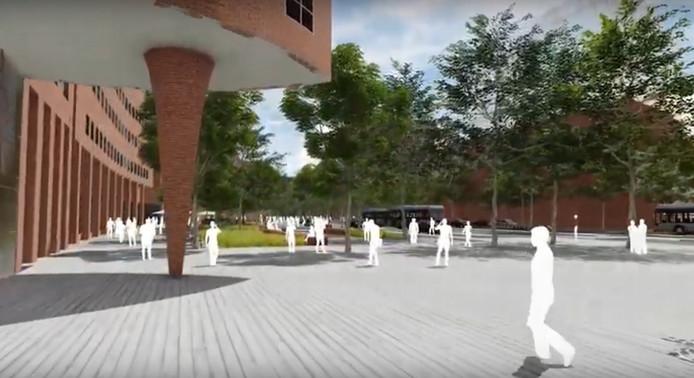 Impressie van het toekomstige Stationsplein, waar nu fietsen gestald staan.