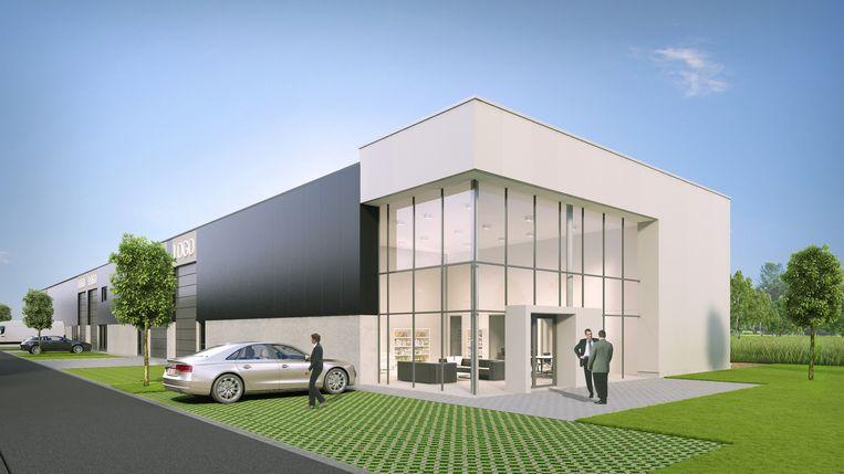Een simulatiebeeld van een toekomstige bedrijfshal in het KMO-park.