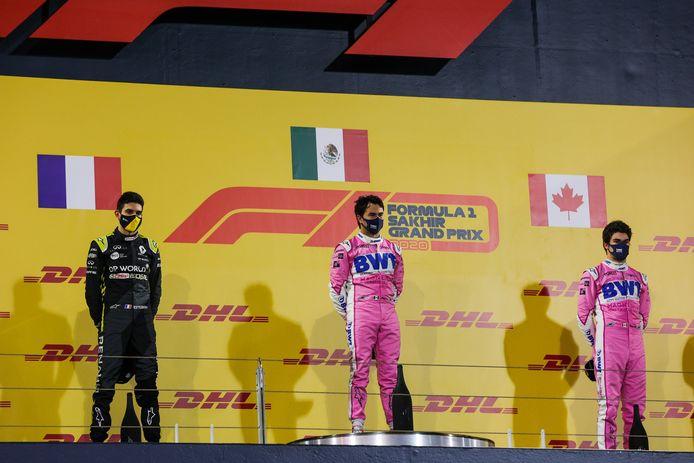 Pérez op het hoogste schavotje naast Ocon en Stroll.