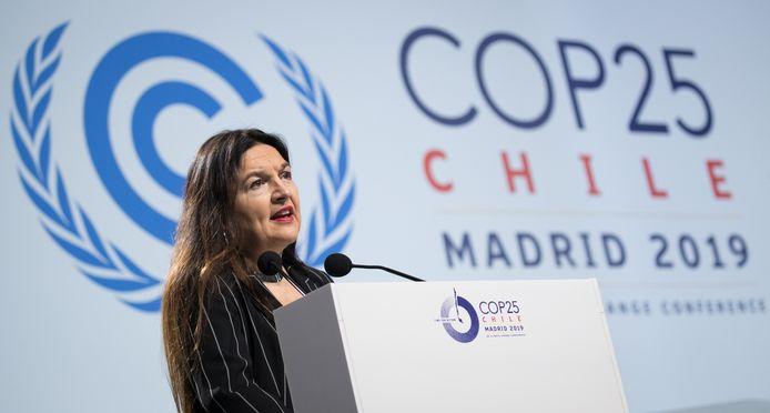 La ministre Marghem s'exprimant mercredi à la COP25, à Madrid