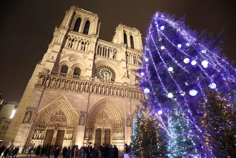 Een grote kerstboom naast de Notre-Dame in hartje Parijs. Het is de eerste boom die er op het plein komt na de aanslagen van november 2015.