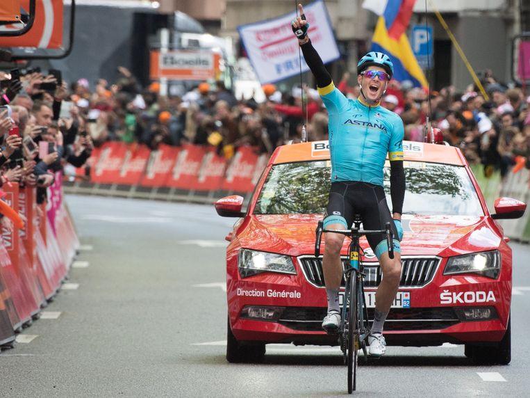 Jakob Fuglsang van het Astana Pro Team wint in 2019 Luik-Bastenaken-Luik. Beeld BELGA