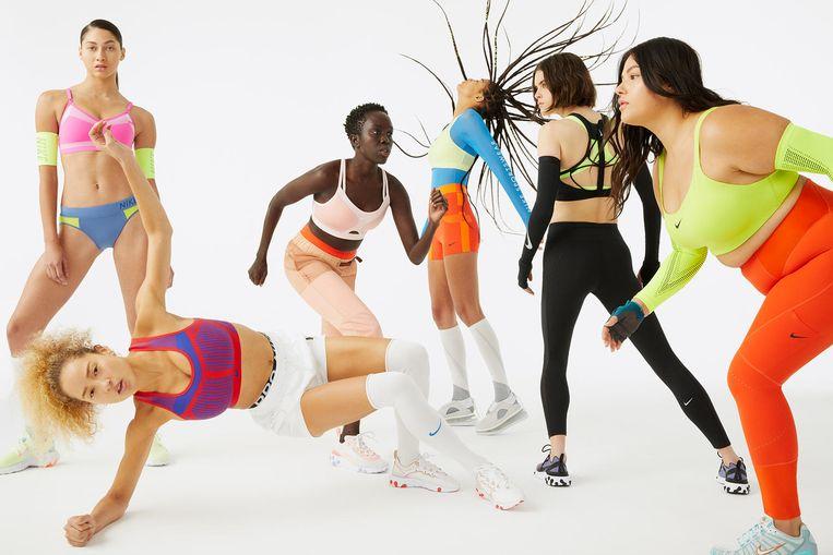 Een campagnebeeld voor de spotbeha's van Nike.