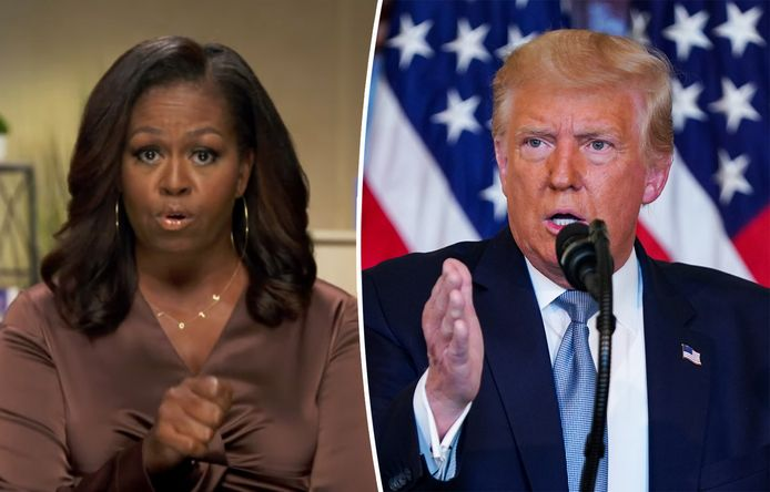 Voormalig first lady Michelle Obama en president Donald Trump.