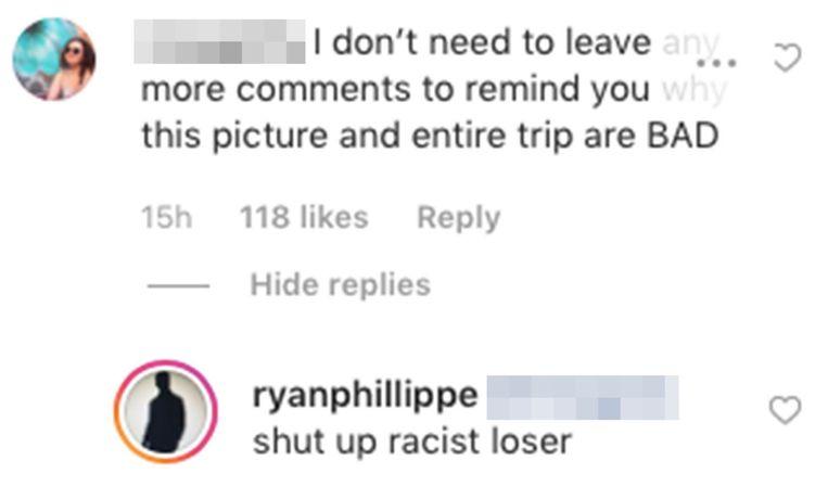 Ryan Philippe gaat in de verdediging op instagram