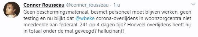 Le tweet supprimé de Conner Rousseau