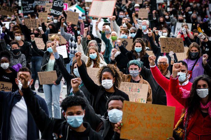 Demonstranten in Eindhoven.