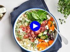 Cette salade d'hiver vite prête, au couscous et légumes grillés, vous remettra d'aplomb