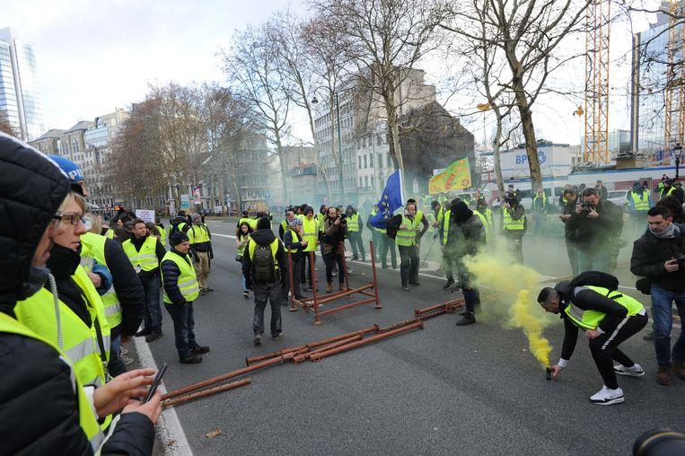 Betoging gele hesjes in centrum Brussel