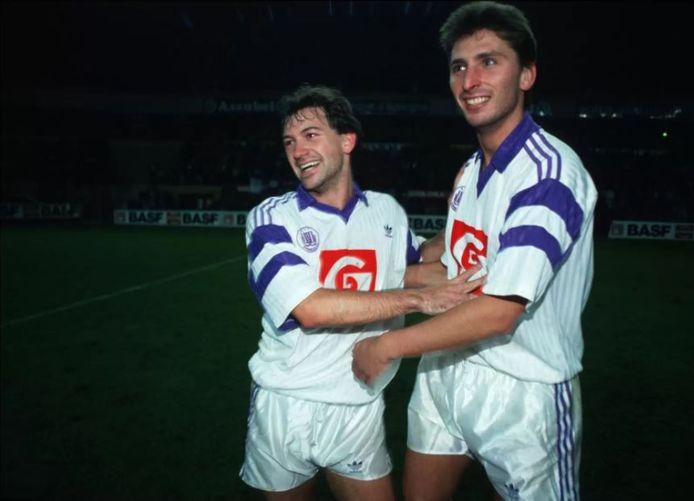 Luc Nilis met Marc Degryse bij Anderlecht.