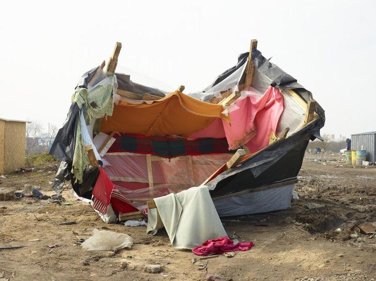 Maart 2016 Een omgegooide hut in het Soedanese kwartier. Beeld null