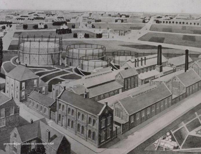 Bureau Quadrat liet zich inspireren door de cirkelvormige gashouders. Op deze afbeelding de gasfabriek in het begin van de vorige eeuw.