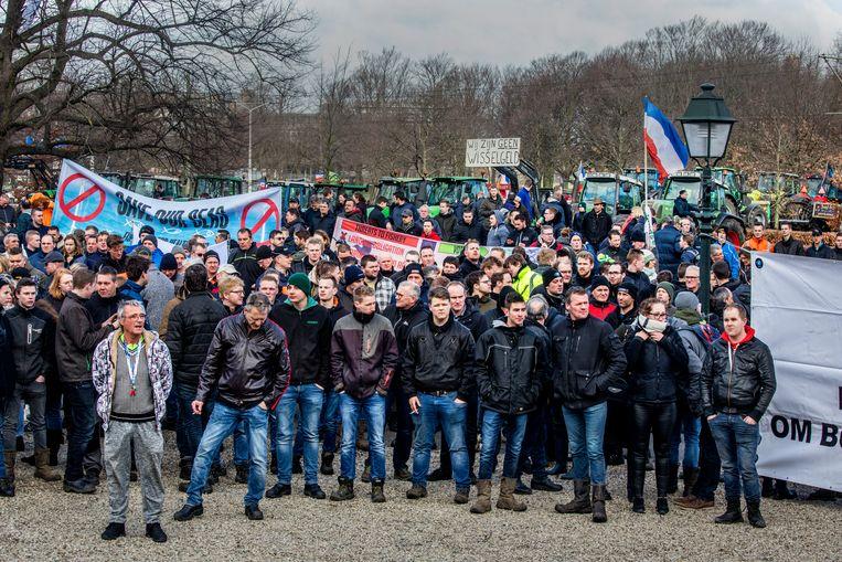 Boeren tijdens de protestactie in Den Haag op woensdag 19 februari.  Beeld Raymond Rutting / de Volkskrant