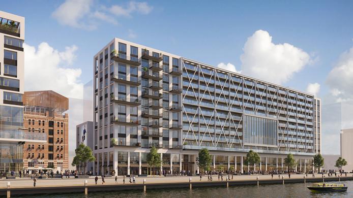 De Rijnhaven met het appartementencomplex.
