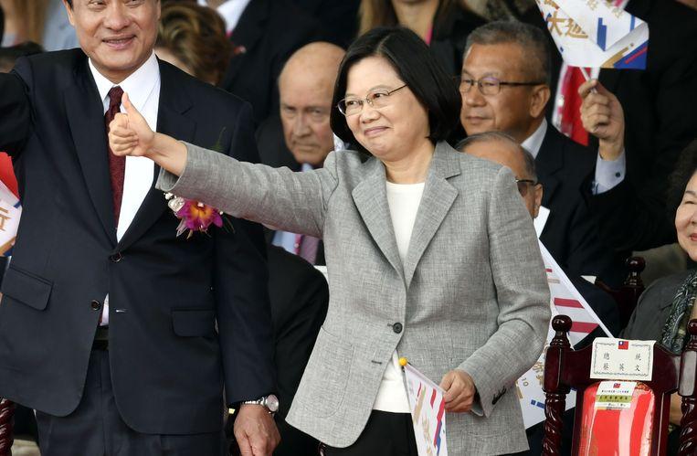 Tsai Ing-wen, de eerste vrouwelijke president van Taiwan, dat vandaag de nationale feestdag vierde. Beeld AFP