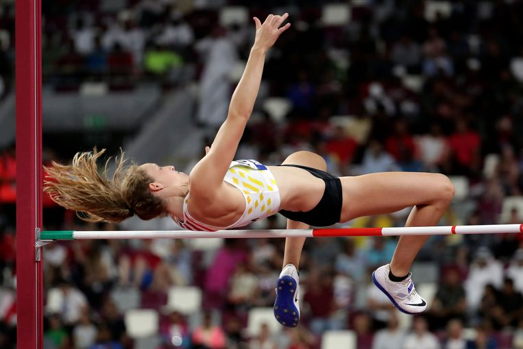 Noor Vidts, of Belgium, competes in the women's heptathlon high jump at the World Athletics Championships in Doha, Qatar, Wednesday, Oct. 2, 2019. (AP Photo/Hassan Ammar)
