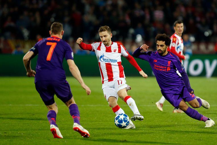 Marin aan het werk met Rode Ster in de Champions League tegen Liverpool.