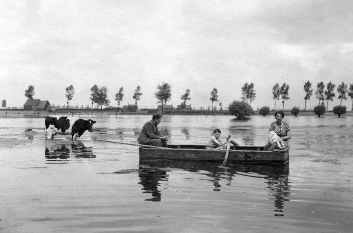 Axel, zomer 1944: Voorjaar 1944 zetten de Duitsers een groot deel van Oost-Zeeuws-Vlaanderen onder water. De boerderij van Willem de Feijter ligt in geïnundeerd gebied en is alleen bereikbaar met de roeiboot.fotograaf onbekend - Archief Oorlogsmuseum Gdynia, Axel