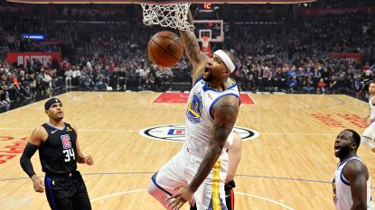 "VIDEO. ""I'm back"": DeMarcus Cousins viert terugkeer bij Warriors met dunk en klinkende zege"