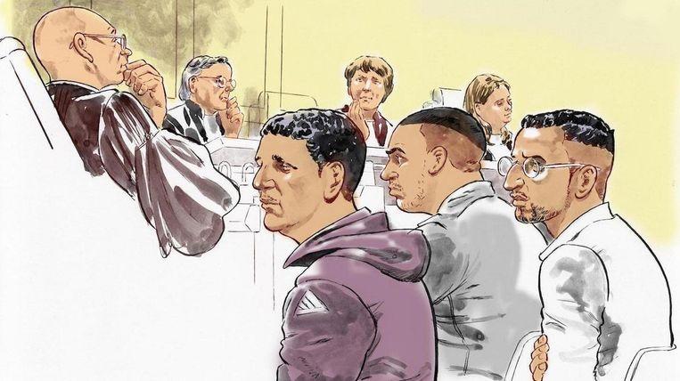 Van links naar rechts, verdachten Hicham M., Mohamed H. en Omar Lkhorf. Beeld ANP