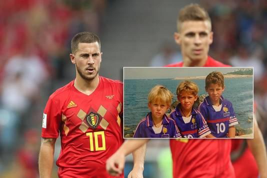 Eden en Thorgan Hazard als Rode Duivels. Inzet: met broertje Kylian in het shirt van de Haantjes.
