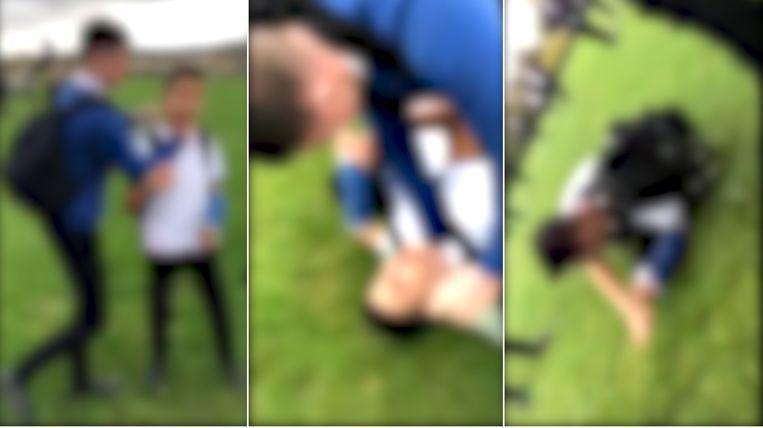 De Britse politie is een onderzoek gestart naar een online video waarop te zien is hoe een jongen op school mishandeld wordt door een pester.