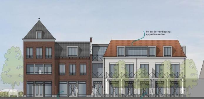 Een vooraanzicht van het nieuwe plan voor locatie de Brouwershoeve, gezien vanaf 't Laar in Nistelrode.