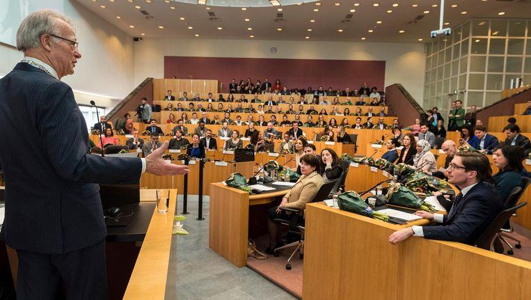 Waarnemend burgemeester Jozias van Aartsen van Amsterdam hield deze week een toespraak tijdens de installatie van de nieuwe gemeenteraad. Beeld ANP