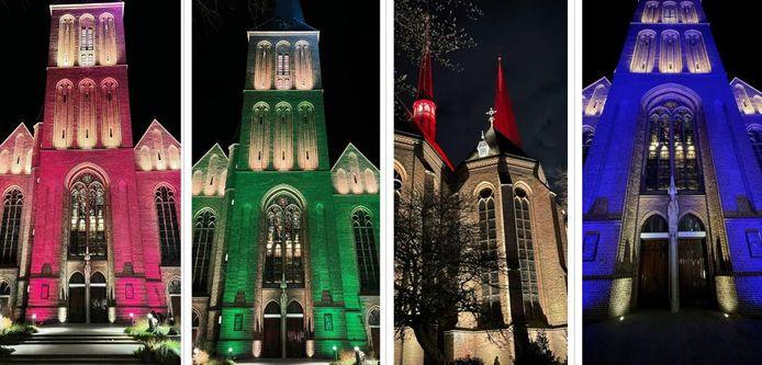 De verlichting van de Lambertusbasiliek is vernieuwd. De kerk kan in diverse kleuren uitgelicht worden.