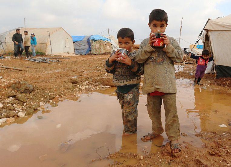 Syrische vluchtelingen in Jordanië. Beeld AFP