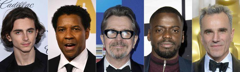 Timothée Chalamet, Denzel Washington, Gary Oldman, Daniel Kaluuya en Daniel Day-Lewis.