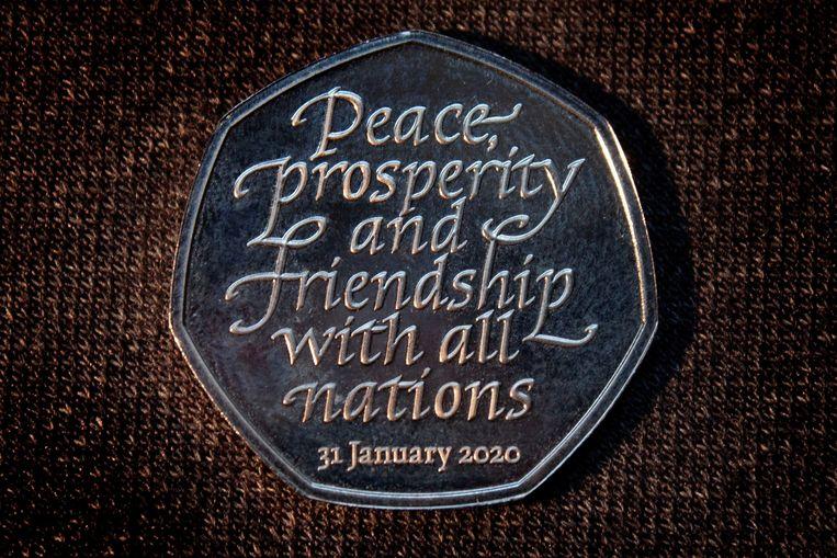 """Ter gelegenheid van de brexit is zelfs een afscheidsmunt gedrukt, met de tekst: """"Vrede, welvaart en vriendschap met alle naties""""."""