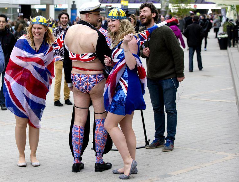 Britse fans in Stockholm. Beeld anp