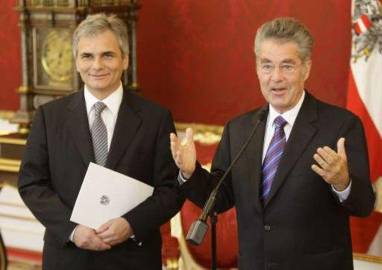 SPÖ-voorzitter Werner Faymann met president Heinz Fischer.